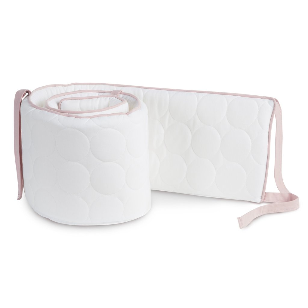 Oilo Quilted White Bumper with Blush Trim