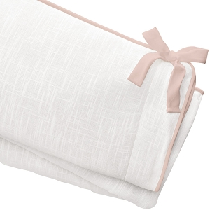 Liz and Roo Crib Rail Cover - White Woven with Blush Peach Trim