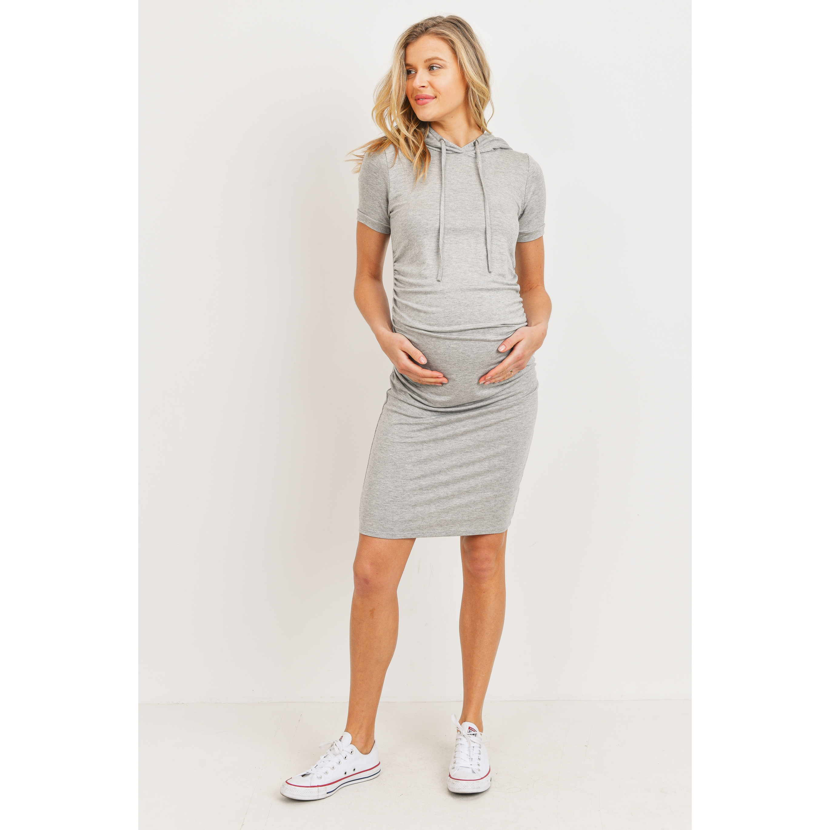 Short Sleeve Heather Grey Hoodie Maternity Dress