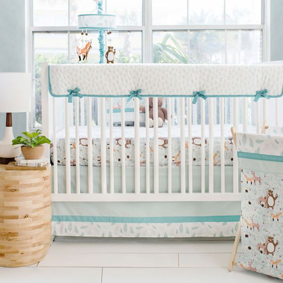 Aqua Woodland Baby Crib Bedding Set