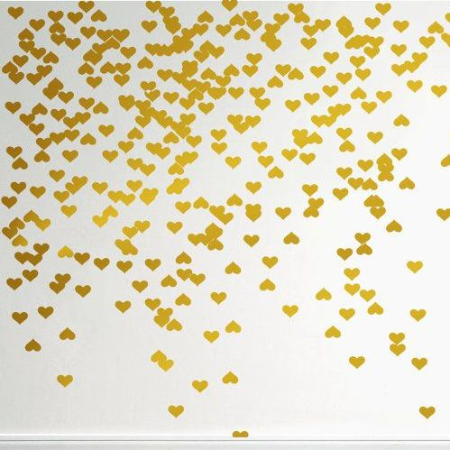 Gold Mini Hearts Wall Decal