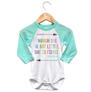Though She Be But Little Raglan Onesie