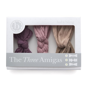Three Amigas Headband Gift Set (Lilac, Mauve, Taupe)