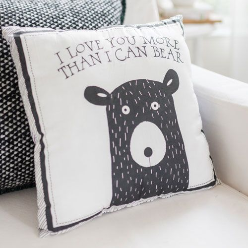 Little Black Bear Throw Pillow
