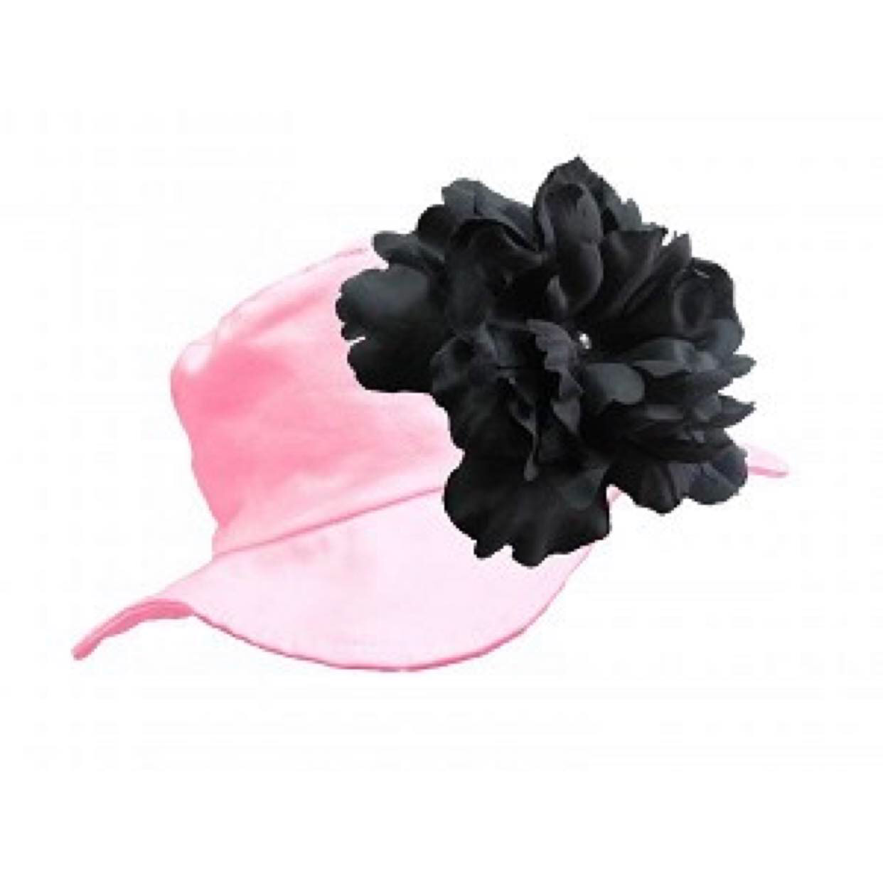 Pale Pink Sun Hat with Black Peony