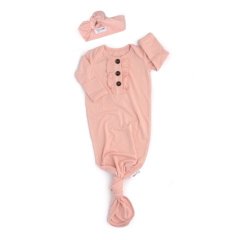 Knotted Gown w/ Ruffles & Headband - Powder Pink