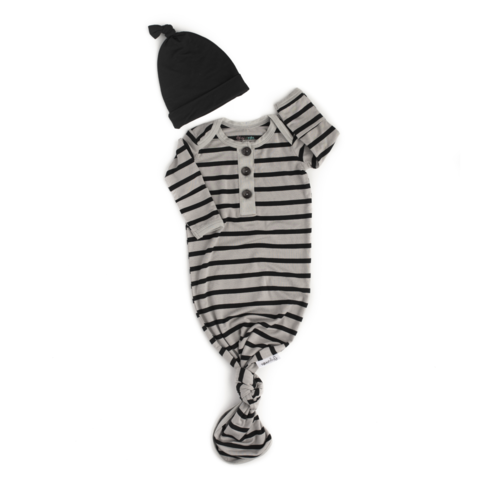 Knotted Gown & Hat - Grey & Black Stripe