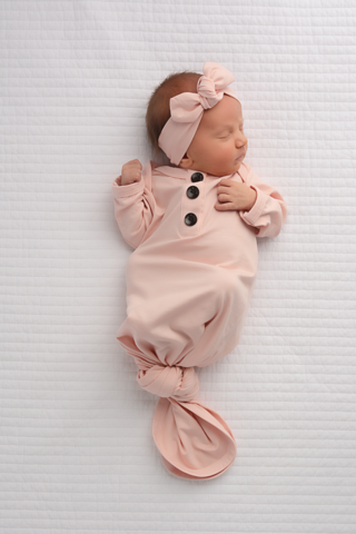 Knotted Gown & Headband - Powder Pink