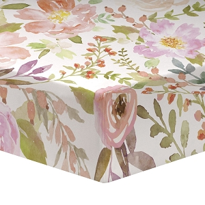 Liz and Roo Crib Sheet - Blush Watercolor Floral