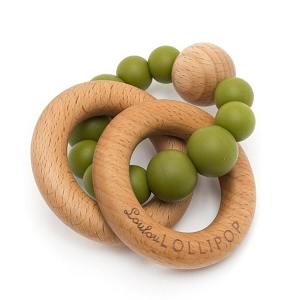Bubble Teether Rattle - Olive