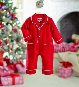 Mud Pie Holiday Red Pajama Romper