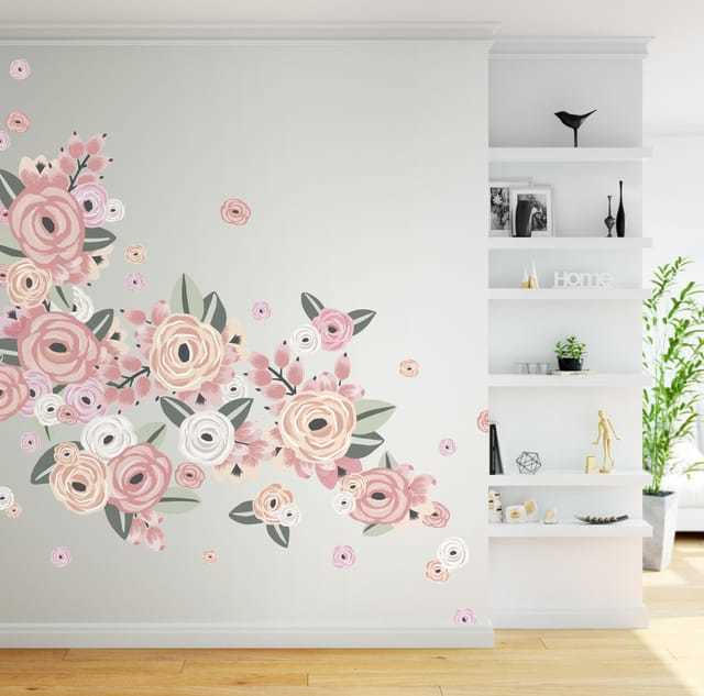 Faded Pink Graphic Flower Wall Decals - Half Order