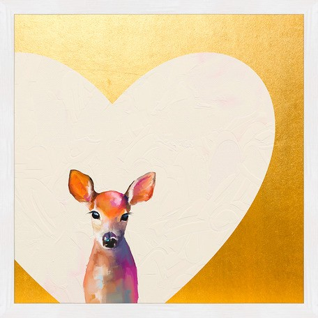 Metallic Framed Art - Baby Fawn Standing