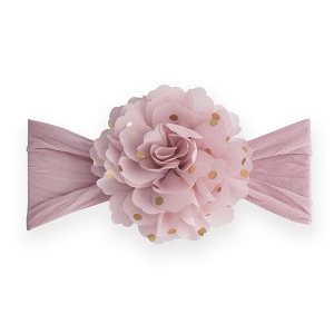 Gold Dot Flower Headband - Mauve