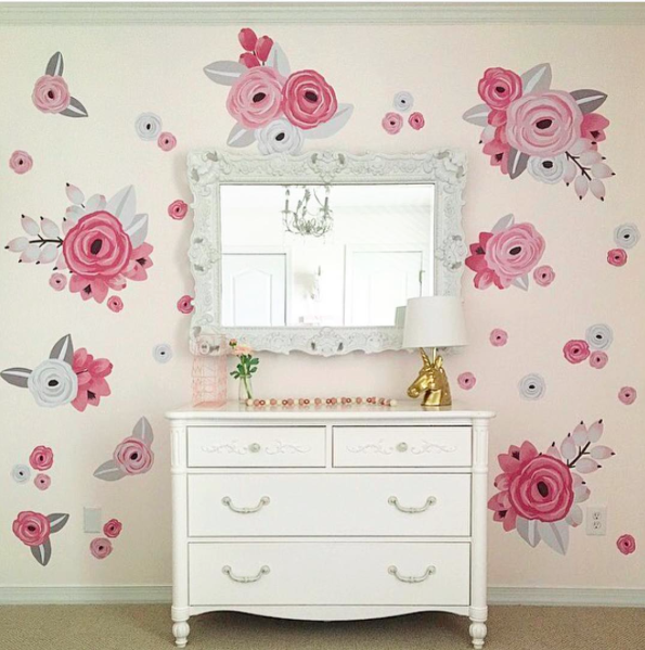 Pink & White Graphic Flower Wall Decals - Half Order
