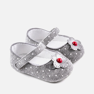 Baby Girl Knit Mary Janes - Grey with Red