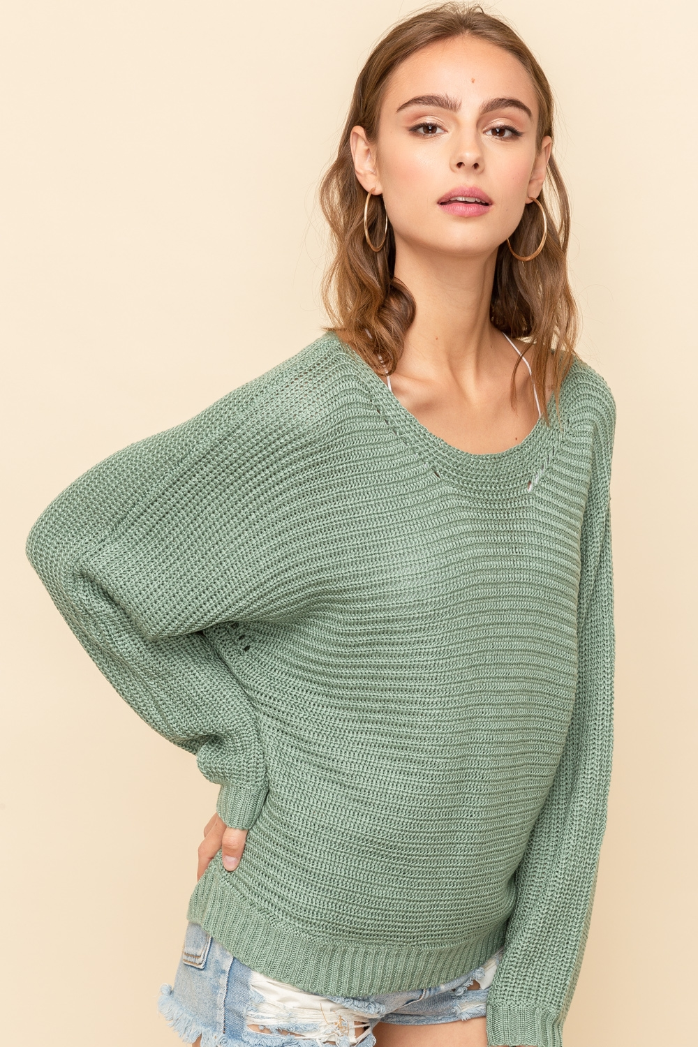 Boat Neck Green Sweater