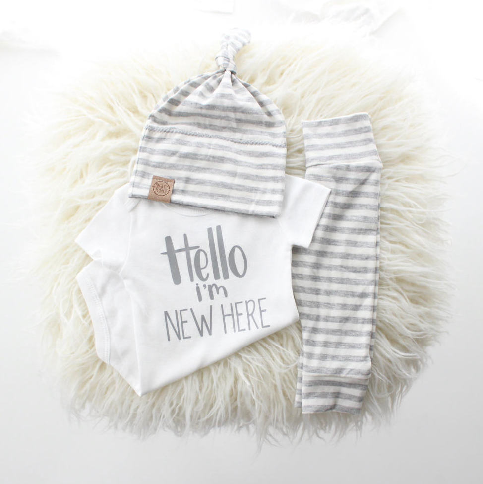 Hello I M New Here Onesie Take Home Outfit Shop Baby