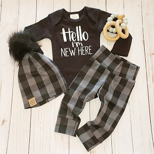 Hello I'm New Here Onesie - Black