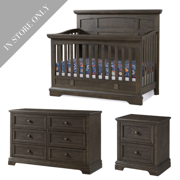 Highland Park Crib, Dresser & Nightstand Package - Charcoal (Boutique Exclusive!)