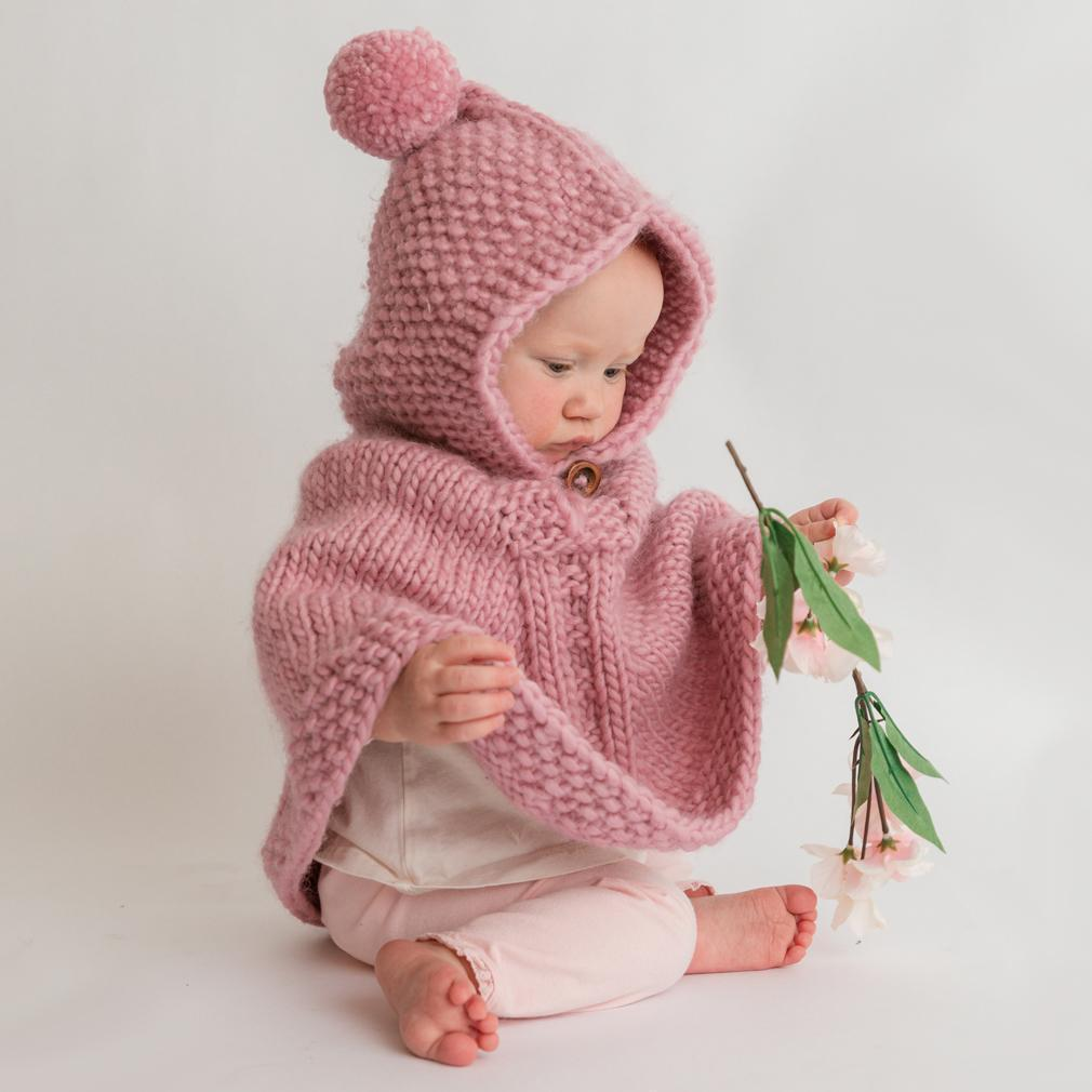 Hooded Knit Poncho - Rosy