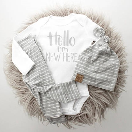 Hello I'm New Here Onesie - White & Grey