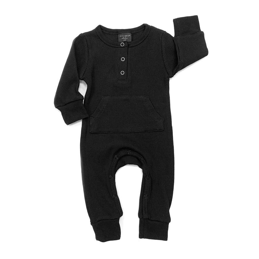 Long Sleeve Snap Romper - Black