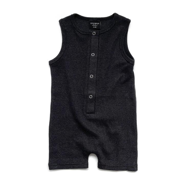 Ribbed Shorty Sleeveless Romper - Black