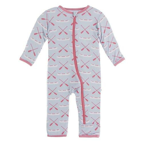 Kickee Pants Print Coverall with Zipper in Dew Paddles and Canoe