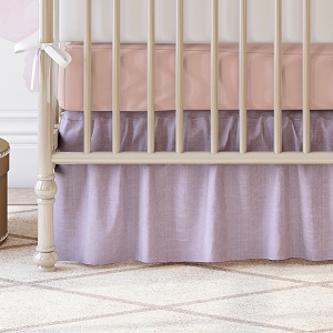 Liz and Roo Ruffled Crib Skirt - Lavender Linen