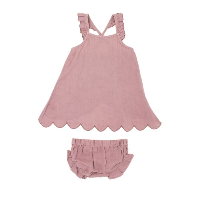 L Oved Baby Muslin Tunic Top Bloomer Set In Lavender Organic