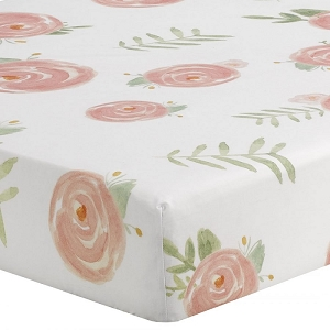 Liz and Roo Crib Sheet - Pink Peony