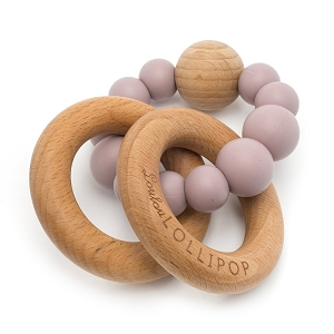 Bubble Teether Rattle - Dusty Mauve