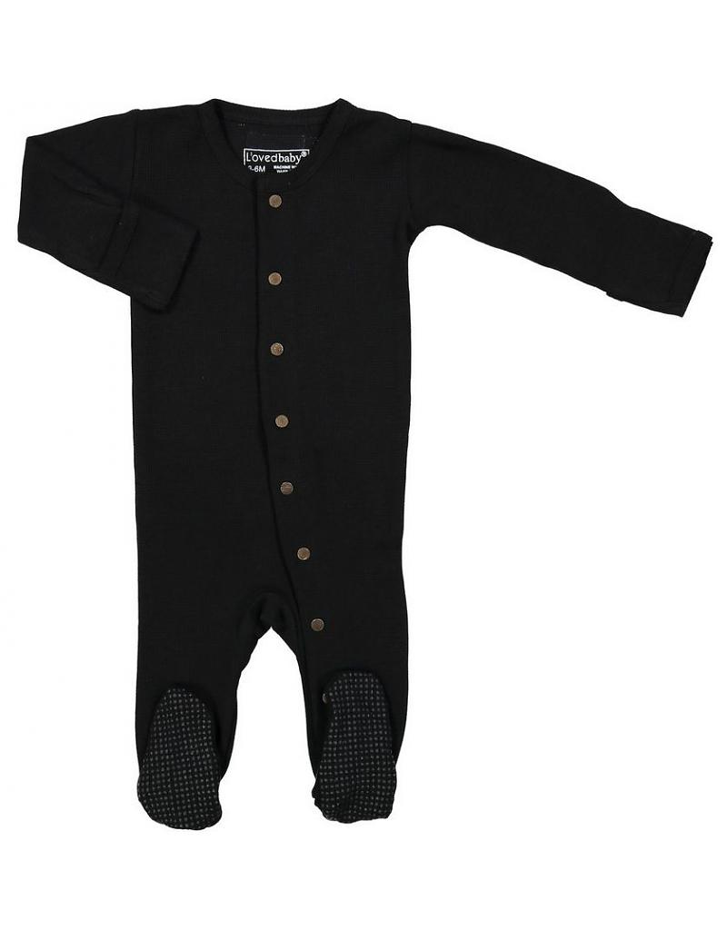L Oved Baby Black Organic Thermal Long Sleeve Overall