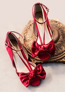 Joyfolie Lucia Kitten Heel - Crimson Satin