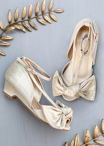 Joyfolie Lucia Gold Satin Heel