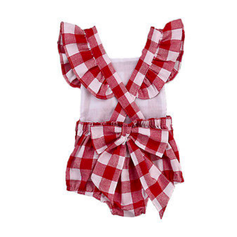 af36f0bb6 Apron Ruffle Romper in Red Gingham | Find Unique Trendy Baby Girl ...