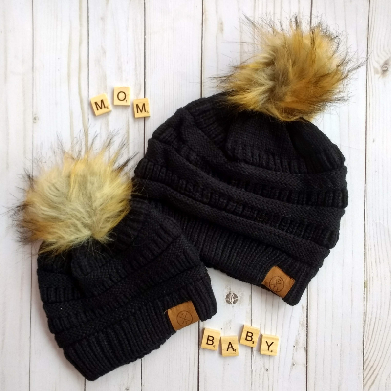 Home   Clothing   Accessories   Trendy Girl Outfits   Girls Hats   Mommy    Me Beanie Set - Black b2e54615ec5