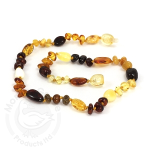 Amber Teething Necklace - Olive & Baroque Multi polished