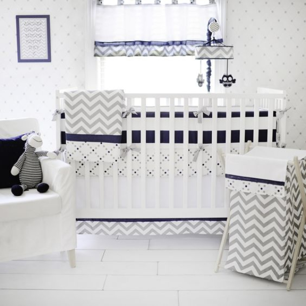 Navy And Gray Chevron Crib Bedding Set