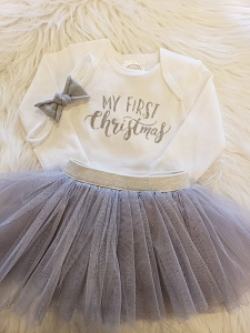 My First Christmas  - Silver Glitter Onesie