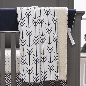 Minky Receiving Blanket - Navy Arrow