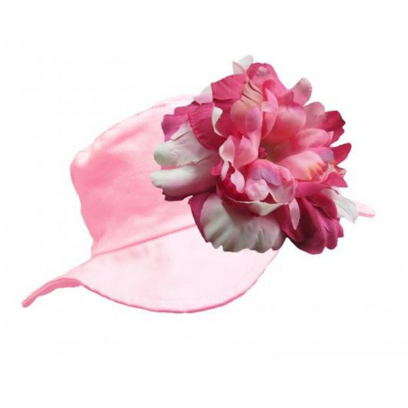 Pale Pink Sun Hat with Raspberry Peony