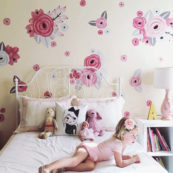 Pink & White Graphic Flower Wall Decals from Urban Walls