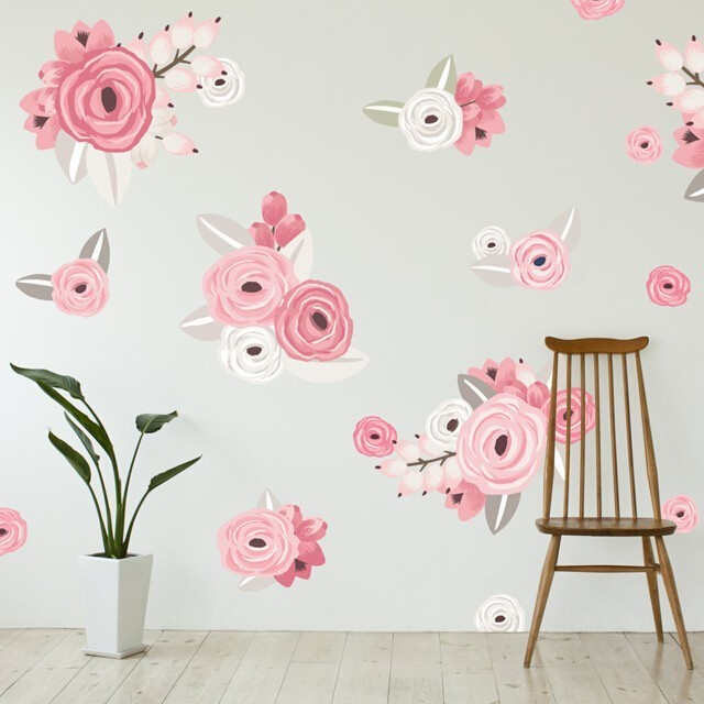 Pink white graphic flower wall decals from urban walls pink white graphic flower wall decals mightylinksfo
