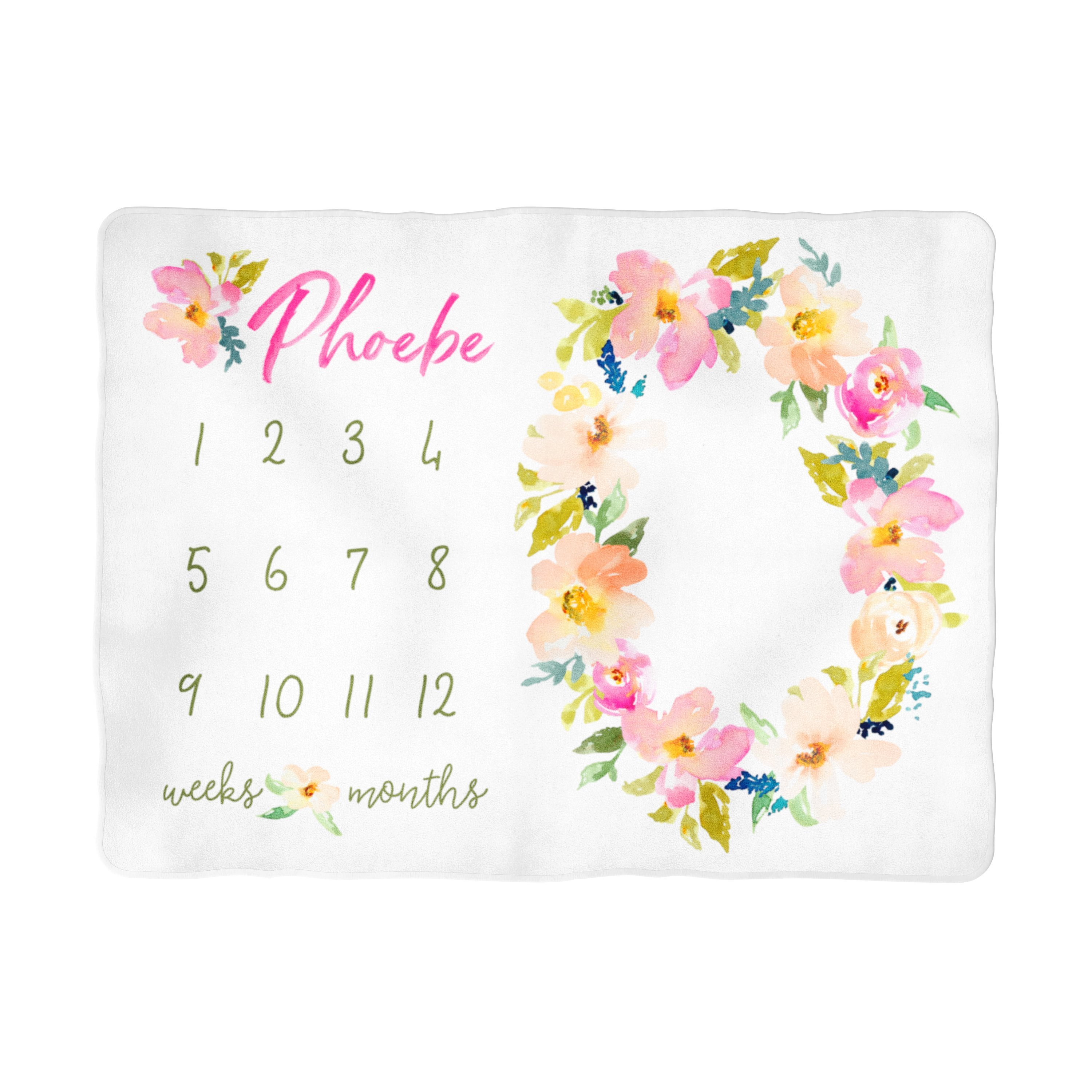 Garden Floral Milestone Blanket Personalized Trendy Swaddle Blankets For Babies At Sugar Babies
