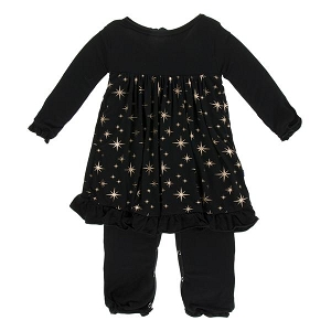 Kickee Pants Holiday Long Sleeve Dress Romper - Rose Gold Bright Stars