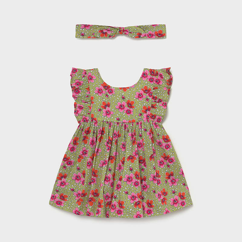 Mayoral Floral Printed Dress w/ Matching Headband
