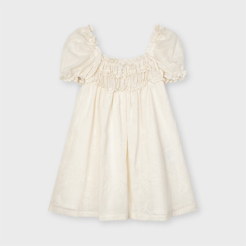 Mayoral Off White Puff Sleeve Dress