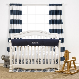 Liz and Roo Crib Rail Cover - Navy with White Trim